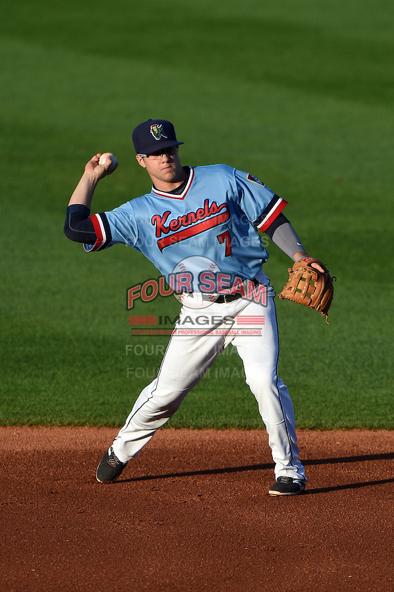 Cedar Rapids Kernels second baseman Tanner Vavra (7) throws to first during a game against the Quad Cities River Bandits on August 19, 2014 at Perfect Game Field at Veterans Memorial Stadium in Cedar Rapids, Iowa.  Cedar Rapids defeated Quad Cities 5-3.  (Mike Janes/Four Seam Images)