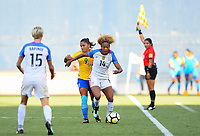 San Diego, CA - Sunday July 30, 2017: Casey Short, Debinha during a 2017 Tournament of Nations match between the women's national teams of the United States (USA) and Brazil (BRA) at Qualcomm Stadium.