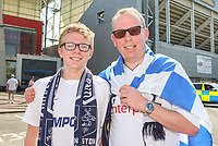 Preston North End fans pose for pictures outside Deepdale<br /> <br /> Photographer Alex Dodd/CameraSport<br /> <br /> The EFL Sky Bet Championship - Preston North End v Burton Albion - Sunday 6th May 2018 - Deepdale Stadium - Preston<br /> <br /> World Copyright &copy; 2018 CameraSport. All rights reserved. 43 Linden Ave. Countesthorpe. Leicester. England. LE8 5PG - Tel: +44 (0) 116 277 4147 - admin@camerasport.com - www.camerasport.com