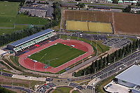 Aerial view of the track and field opposite Cardiff City FC stadium.