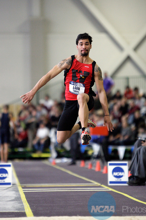 12 MAR 2011: Tommie Lark of Wesleyan University triple jumps during the Division III Men's and Women's Indoor Track and Field Championships held at the Capital Center Fieldhouse on the Capital University campus in Columbus, OH.  Jay LaPrete/NCAA Photos