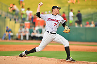 Northern Divisions pitcher Jake Elliott (25) of the Kannapolis Intimidators delivers a pitch during the South Atlantic League All Star Game at First National Bank Field on June 19, 2018 in Greensboro, North Carolina. The game Southern Division defeated the Northern Division 9-5. (Tony Farlow/Four Seam Images)