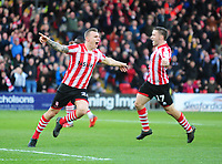 Lincoln City's Harry Anderson celebrates scoring the opening goal with team-mate  Shay McCartan, right<br /> <br /> Photographer Andrew Vaughan/CameraSport<br /> <br /> Emirates FA Cup First Round - Lincoln City v Northampton Town - Saturday 10th November 2018 - Sincil Bank - Lincoln<br />  <br /> World Copyright © 2018 CameraSport. All rights reserved. 43 Linden Ave. Countesthorpe. Leicester. England. LE8 5PG - Tel: +44 (0) 116 277 4147 - admin@camerasport.com - www.camerasport.com