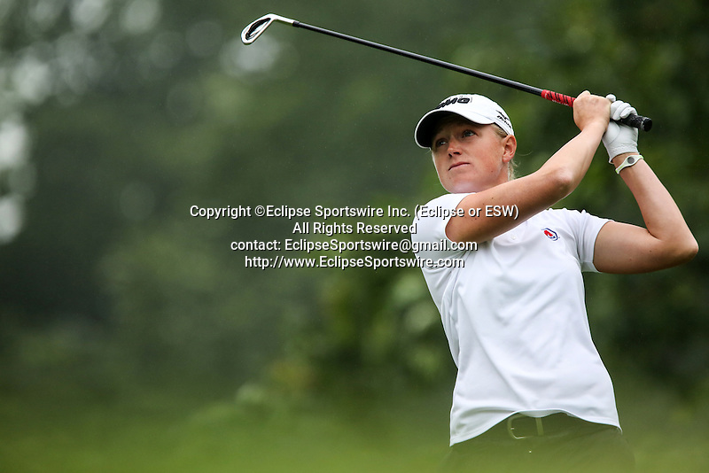 American Stacy Lewis tees off on the fifth tee at the LPGA Championship at Locust Hill Country Club in Pittsford, NY on June 7, 2013