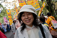 Akiko Hoshino, the wife of jailed activist, Fumiaki Hoshino who was arrested in 1975 for the alleged killing of a police officer during riots in Tokyo and sentenced to life imprisonment, at a rally organized by Doro Chiba labour union in Hibiya Park, Tokyo, Japan Sunday, November 6th 2011