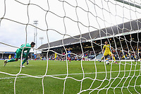 Agon Mehmeti of Oxford United (right) scores his team's fourth goal of the game to make the score 1-4 during the Sky Bet League 1 match between Peterborough and Oxford United at the ABAX Stadium, London Road, Peterborough, England on 30 September 2017. Photo by David Horn.