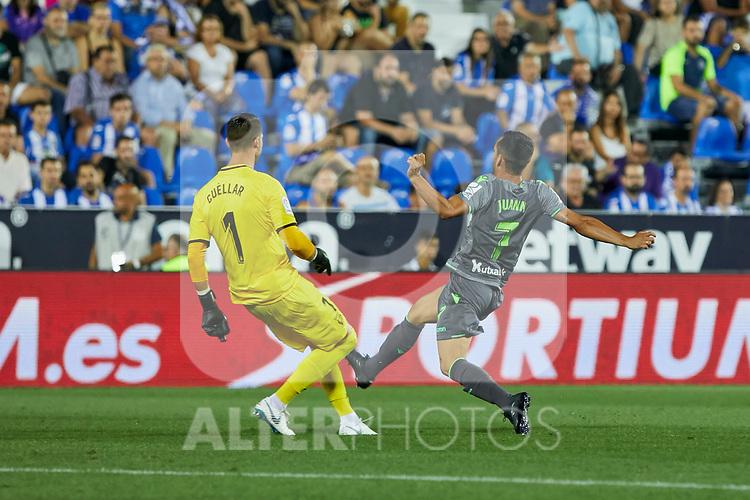 Leganes' Ivan Cuellar and Real Sociedad's Juan Miguel Jimenez during La Liga match. August 24, 2018. (ALTERPHOTOS/A. Perez Meca)
