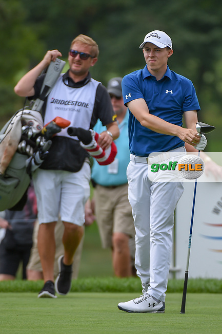 Matt Fitzpatrick (ENG) watches his tee shot on 3 during 1st round of the World Golf Championships - Bridgestone Invitational, at the Firestone Country Club, Akron, Ohio. 8/2/2018.<br /> Picture: Golffile | Ken Murray<br /> <br /> <br /> All photo usage must carry mandatory copyright credit (© Golffile | Ken Murray)