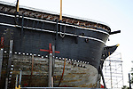 Whaler Charles W. Morgan in drydock for restoration in Mystic, Connecticut USA