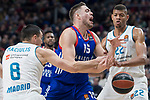 Real Madrid Jonas Maciulis and Walter Tavares and Anadolu Efes Vladimir Stimac during Turkish Airlines Euroleague match between Real Madrid and Anadolu Efes at Wizink Center in Madrid, Spain. January 25, 2018. (ALTERPHOTOS/Borja B.Hojas)