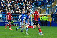 Barnsley's midfielder Brad Potts (20) closed down by Sheffield Wednesday's midfielder Kieran Lee (5) during the Sky Bet Championship match between Sheff Wednesday and Barnsley at Hillsborough, Sheffield, England on 28 October 2017. Photo by Stephen Buckley / PRiME Media Images.