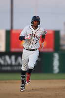 Danry Vasquez (7) of the Lancaster JetHawks runs the bases during a game against the Lake Elsinore Storm at The Hanger on May 9, 2015 in Lancaster, California. Lancaster defeated Lake Elsinore, 3-1. (Larry Goren/Four Seam Images)
