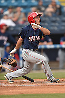 Hagerstown Suns second baseman Max Schrock (2) swings at a pitch during a game against the Asheville Tourists at McCormick Field on April 26, 2016 in Asheville, North Carolina. The Suns defeated the Tourists 8-7. (Tony Farlow/Four Seam Images)