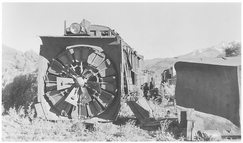 RGS rotary #2 in Ridgway yard.  Out of commission due to boiler explosion in January 1, 1949.<br /> RGS  Ridgway, CO  1950-1952