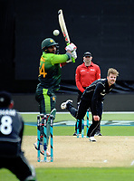 Lockie Ferguson beats Sarfraz Ahmed during the One Day International cricket match between the NZ Black Caps and Pakistan at the Basin Reserve in Wellington, New Zealand on Saturday, 6 January 2018. Photo: Dave Lintott / lintottphoto.co.nz