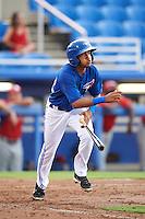 GCL Blue Jays shortstop Jesus Navarro (82) at bat during the first game of a doubleheader against the GCL Phillies on August 15, 2016 at Florida Auto Exchange Stadium in Dunedin, Florida.  GCL Phillies defeated the GCL Blue Jays 7-5 in a continuation of a game originally started on July 30th.  (Mike Janes/Four Seam Images)