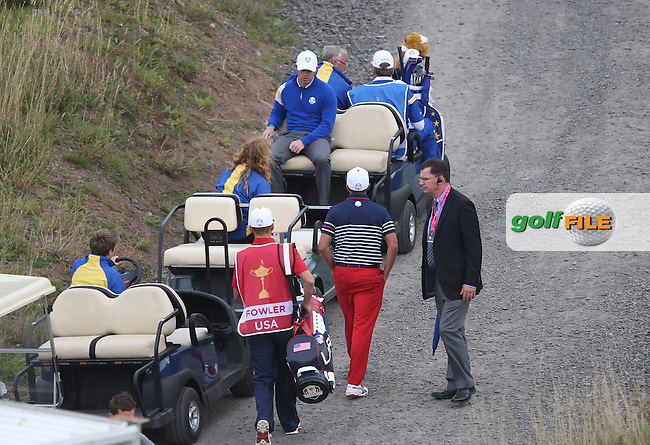 Rory McIlroy (EUR) 4UP heading to the 9th during Sunday's Singles at the 2014 Ryder Cup from Gleneagles, Perthshire, Scotland. Picture:  David Lloyd / www.golffile.ie
