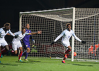 Dujon Sterling (Chelsea) of England U19 celebrates heading in a last minute of injury time winning goal during the International friendly match between England U19 and Bulgaria U19 at Adams Park, High Wycombe, England on 10 October 2016. Photo by Andy Rowland.