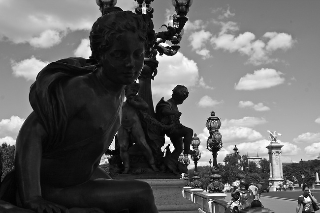 Statuary on a bridge over the River Seine. Paris, France. July 30, 2007.
