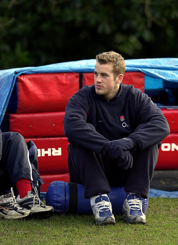 Photo. Richard Lane. .England Training at Pennyhill Hotel, Bagshot. 06/03/2003.James Simpson-Daniel sits out training.