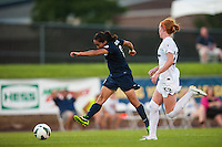 Sky Blue FC forward Monica Ocampo (8) takes a shot. Sky Blue FC defeated the Washington Spirit 1-0 during a National Women's Soccer League (NWSL) match at Yurcak Field in Piscataway, NJ, on July 6, 2013.