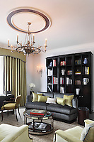 This luxury Claridges hotel room is furnished in a palette of light green and grey