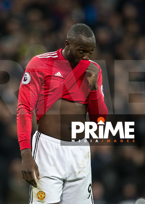 Romelu Lukaku of Man Utd during the Premier League match between Tottenham Hotspur and Manchester United at Wembley Stadium, London, England on 31 January 2018. Photo by Andy Rowland.