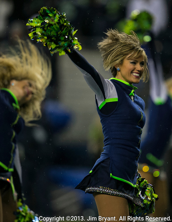 Seattle Seagals perform during the third quarter  in the Seahawks game against the New Orleans Saints at CenturyLink Field in Seattle, Washington on December 2, 2013.   The Seahawks became the first team to clinch a spot in the NFC playoffs with a 34-7 victory over the New Orleans Saints. ©2013. Jim Bryant Photo. ALL RIGHTS RESERVED.