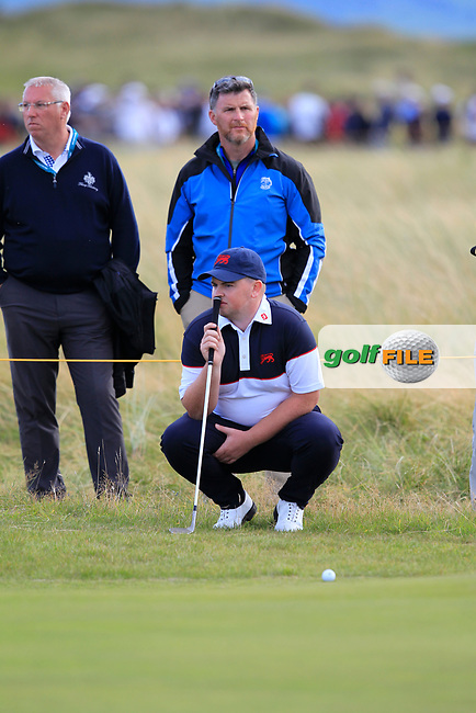 Caolan Rafferty (GB&I) on the 17th during Day 2 Singles at the Walker Cup, Royal Liverpool Golf CLub, Hoylake, Cheshire, England. 08/09/2019.<br /> Picture Thos Caffrey / Golffile.ie<br /> <br /> All photo usage must carry mandatory copyright credit (© Golffile | Thos Caffrey)