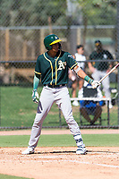 Oakland Athletics outfielder Jose Bonilla (18) at bat during an Instructional League game against the Los Angeles Dodgers at Camelback Ranch on September 27, 2018 in Glendale, Arizona. (Zachary Lucy/Four Seam Images)