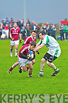 Dromid's Gearoid O'Sullivan comes out the best as he twists and turns to break free of Kanturk's Eoin O'Connor in this challenge.