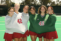 STANFORD, CA - AUGUST 14:   Xanthe Travlos, Jaimee Erickson, Heather Alcorn, Camille Gandhi, Alessandra Moss, and Katherine Donner of the Stanford Cardinal during picture day on August 14, 2008 at the Varsity Turf Field in Stanford, California.