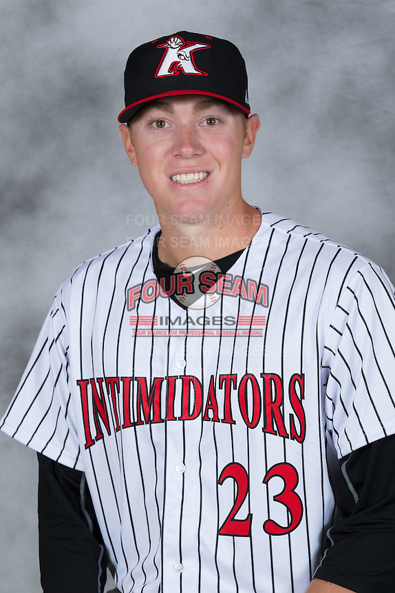Kannapolis Intimidators pitcher Matt Ball (23) poses for a photo at Kannapolis Intimidators Stadium on April 5, 2016 in Kannapolis, North Carolina.  (Brian Westerholt/Four Seam Images)