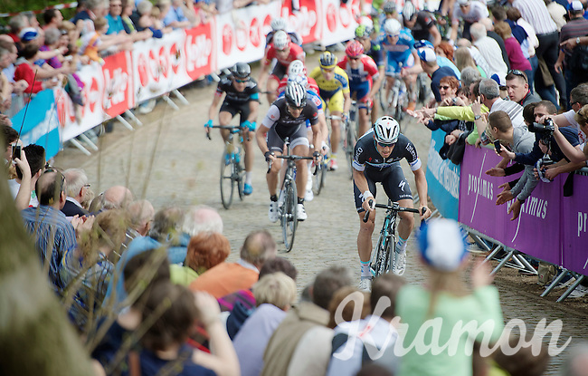 Tom Boonen (BEL/OPQS) charging up the Kemmelberg with Fabian Cancellara (CHE/TrekFactoryRacing) following his wheel<br /> <br /> Gent-Wevelgem 2014