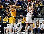 SIOUX FALLS, SD - MARCH 8: Meghan Boyd #0 of the Denver Pioneers goes up for a three point basket against the North Dakota State Bison at the 2020 Summit League Basketball Championship in Sioux Falls, SD. (Photo by Dave Eggen/Inertia)