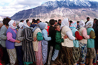 Refugees queue for food and humanitarian aid in Kukes, Northern Albania.