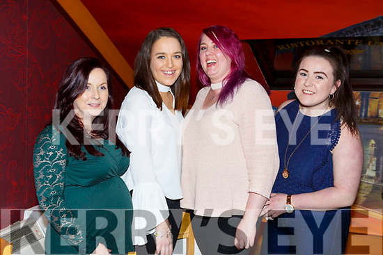 Listowel girls, l-r, Elaine Breen, Orliath O'Connor, Catherina McElligott and Meghan Galvin enjoying a night out in Restaurant Uno on Saturday night last.