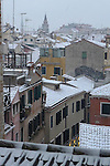 Snow on the rooftops in Venice, Italy.