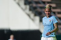 Seattle, WA - Sunday, April 17, 2016: Sky Blue FC forward Tasha Kai (32) looks on during the match. Sky Blue FC defeated the Seattle Reign FC 2-1 during a National Women's Soccer League (NWSL) match at Memorial Stadium.