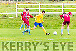 Gearoid Hassett Killorglin takes on the Caherdavin defence during the FAI cup clash  in Killorglin on Saturday morning