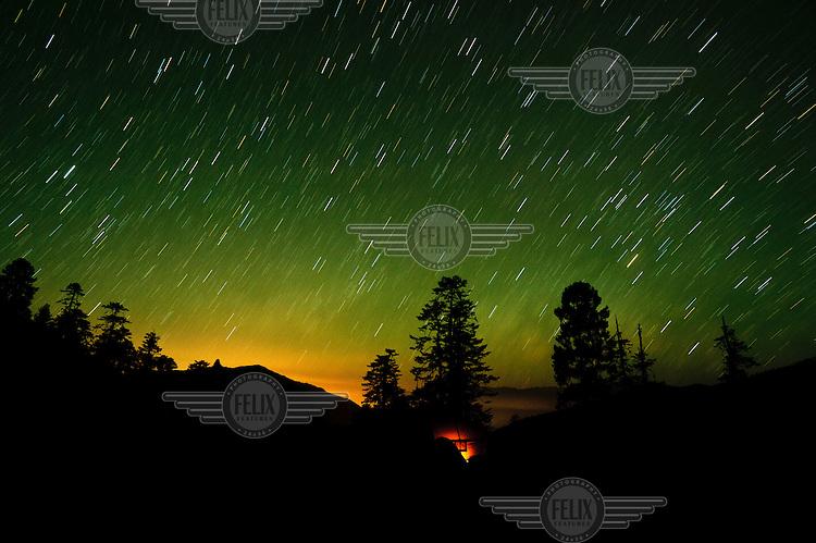 Star trails over a camp site on the Druk Path Trek (Paro to Thimphu).