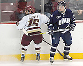 Stephen Gionta, Josh Ciocco - The Boston College Eagles and University of New Hampshire earned a 3-3 tie on Thursday, March 2, 2006, on Senior Night at Kelley Rink at Conte Forum in Chestnut Hill, MA.  Boston College honored its three seniors, captain Peter Harrold and alternate captains Chris Collins and Stephen Gionta, before the game.
