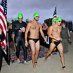 MIAMI BEACH, FLORIDA - APRIL 03: Athlete waiting at the staring line for the swim portion and Takes Part In Life Time South Beach Triathlon swim at Lummus Park on April 3, 2016 in Miami Beach, Florida. ( Photo by Johnny Louis / jlnphotography.com )