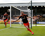 Jay O'Shea of Sheffield Utd celebrates scoring the first goal during the English League One match at Vale Park Stadium, Port Vale. Picture date: April 14th 2017. Pic credit should read: Simon Bellis/Sportimage