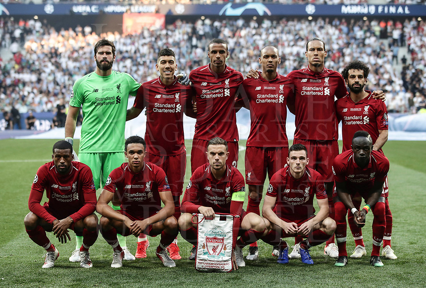 Liverpool players pose before the start of the UEFA Champions League final football match between Tottenham Hotspur and Liverpool at Madrid's Wanda Metropolitano Stadium, Spain, June 1, 2019. Liverpool won 2-0.<br /> UPDATE IMAGES PRESS/Isabella Bonotto