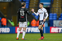 Bolton Wanderers' Tyler Walker shakes hands with Fulham's Tim Ream at the end of the game<br /> <br /> Photographer Andrew Kearns/CameraSport<br /> <br /> The EFL Sky Bet Championship - Bolton Wanderers v Fulham - Saturday 10th February 2018 - Macron Stadium - Bolton<br /> <br /> World Copyright &copy; 2018 CameraSport. All rights reserved. 43 Linden Ave. Countesthorpe. Leicester. England. LE8 5PG - Tel: +44 (0) 116 277 4147 - admin@camerasport.com - www.camerasport.com