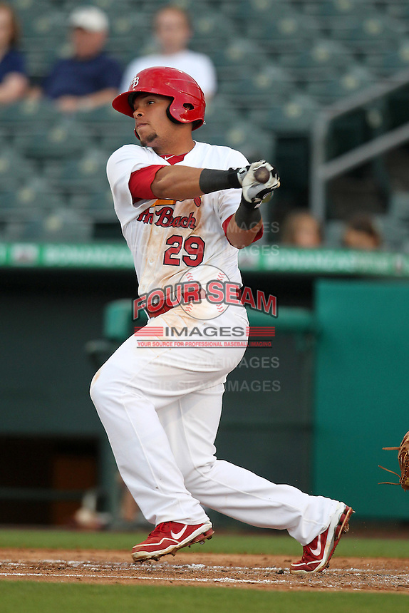 Palm Beach Cardinals outfielder Jon Rodriguez #29 during a game against the Fort Myers Miracle at Roger Dean Stadium on May 1, 2012 in Jupiter, Florida.  Palm Beach defeated Fort Myers 9-3.  (Mike Janes/Four Seam Images)