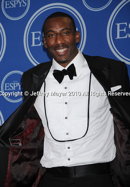 LOS ANGELES, CA. - July 14: NBA player Amare Stoudemire of the New York Knicks poses in press room during 2010 ESPY Awards at Nokia Theatre L.A. Live on July 14, 2010 in Los Angeles, California.