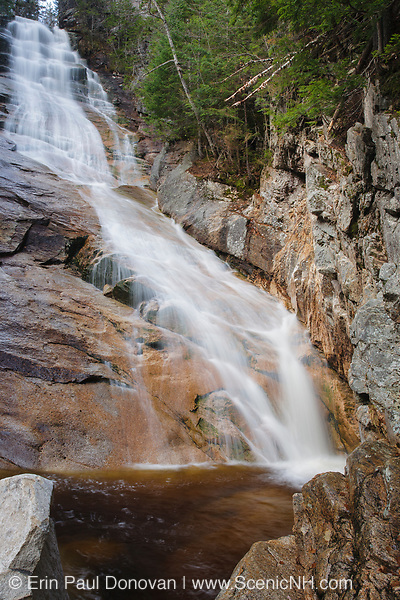 Crawford Notch State Park - Ripley Falls on Avalanche Brook in Hart's Location, New Hampshire USA during the autumn months. The Arethusa-Ripley Falls Trail travels pass this scenic waterfall.