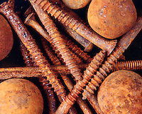 RUSTED BALLS &amp; SCREWS<br /> Rapid Oxidation<br /> Oxide of iron formed by corrosion, an electrochemical reaction.  In moist conditions iron is rapidly oxidized by oxygen to form rust, a mixture of iron oxides.